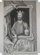 Depiction of Edward II, the lower scene alluding to the manner in which he was murdered