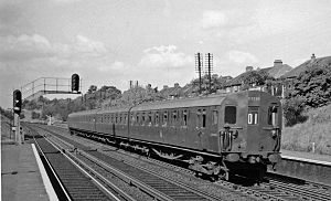 Honor Oak Park railway station - Down suburban electric train in 1958