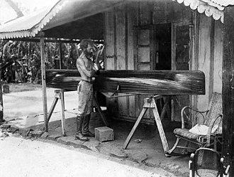 Horacio Quiroga - Quiroga repairing a canoe in San Ignacio, Misiones Province, 1926.