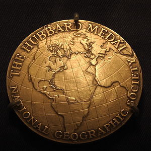 National Geographic Society - Anne Morrow Lindbergh's customized medal detailing her flight route