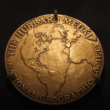 Hubbard Medal awarded to Anne Morrow Lindbergh, showing her flight route Hubbard Gold Medal, Anne Morrow Lindbergh.JPG
