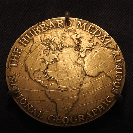 Anne Morrow Lindbergh's customized medal detailing her flight route Hubbard Gold Medal, Anne Morrow Lindbergh.JPG