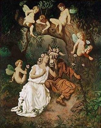 Hermesvilla - Murals in the bedroom of the Empress depict scenes from A Midsummer Night's Dream