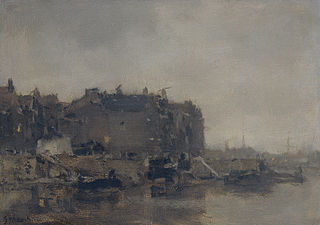 Houses on the Prins Hendrikkade, Amsterdam, on a Misty Day