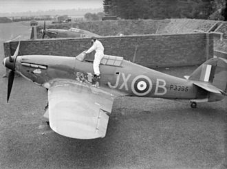 "No. 1 Squadron RAF - P/O ""Taffy"" Clowes climbing into his 1 Sqn Hurricane I at Wittering, in October 1940."