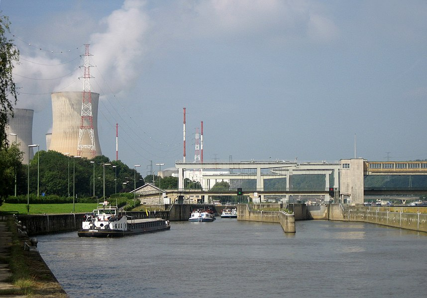 Huy, Belgium. Tihange lock in the Meuse and Tihange Nuclear Power Station.