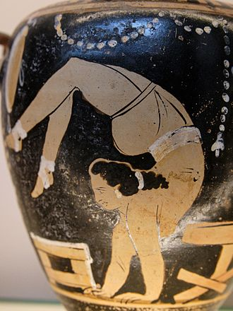 Acrobatics - A female acrobat depicted on an Ancient Greek hydria, c. 340-330 BC.
