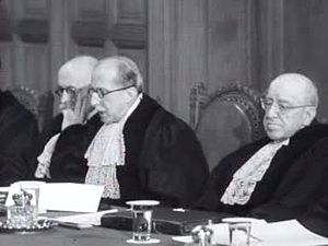 Corfu Channel case - Judge Guerrero speaking from the bench, flanked by two other judges