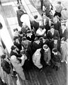 IMMIGRANTS FROM GERMANY BEFORE DEBARKATION AT THE JAFFA PORT. עולים מגרמניה על סיפון אונייה העושה את דרכה לנמל יפו.D420-151.jpg