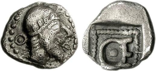 IONIA, Magnesia ad Maeandrum. Themistokles with bonnet. Circa 465-459 BC