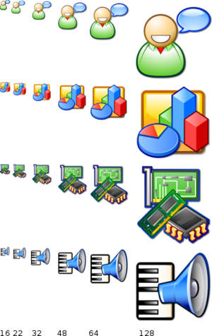 Icon (computing) - An example of computer icon set design: Nuvola icons come in six different sizes