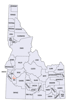 Outline of Idaho - An enlargeable map of the 44 counties of the state of Idaho
