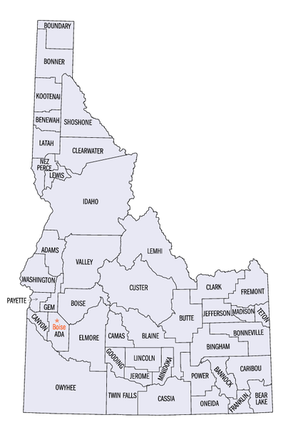 Idaho Counties Map Idaho statistical areas   Wikipedia