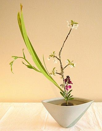 Flower bouquet - A Japanese ikebana flower bouquet in a vase.
