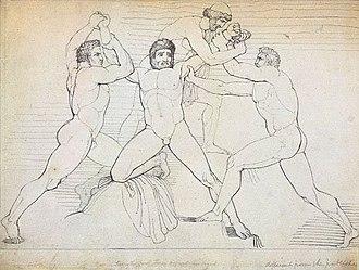Kratos (mythology) - Image: Illustration of the binding of Prometheus by John Flaxman