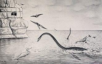 Elasmosaurus - Outdated restoration of Elasmosaurus showing its neck raised above water, by Williston, 1914