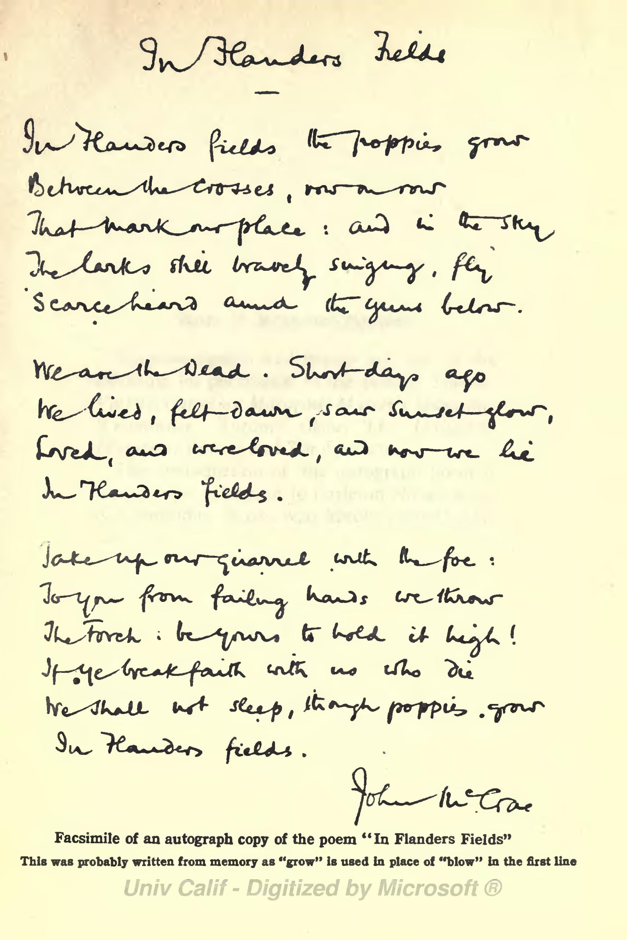Printable In Flanders Field Poem