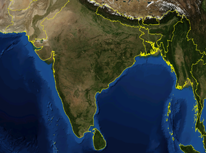 Satellite image of India and surrounding regions