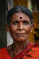 Indian woman with tilaka and bindi
