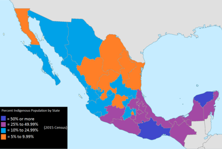 Indigenous Population Percentage of Mexico by State 2015 Indigenous Population Percentage of Mexico by State 2015.png