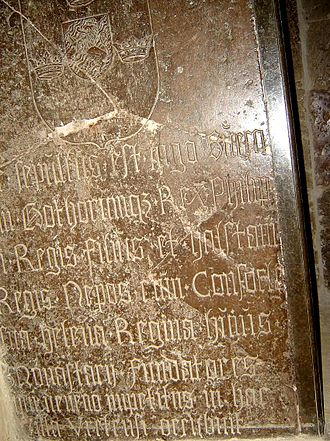 Philip of Sweden - 16th-century copy of a gravestone to King Inge the Younger at Vreta Abbey, with some inaccurate information on it, though probably placed correctly over his and King Philip's bones near the church's altar.