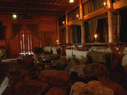 Inside Viking House in Rosala Viking Center in Finland