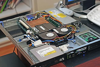 Web server - The inside and front of a Dell PowerEdge web server, a computer designed for rack mounting