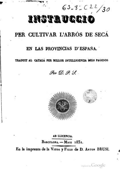 File:Instrucció per cultivar l'arrós de secá en las provincias d'España (1831).djvu
