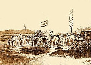 "Flag of Puerto Rico - The flag of Puerto Rico was flown for the first time in the island by Fidel Vélez and his men during the ""Intentona de Yauco"" revolt"