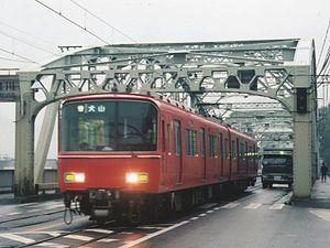Meitetsu Inuyama Line - Kisogawa combined rail and road bridge in 1996