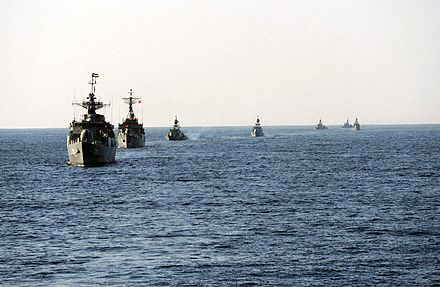 Iranian Navy ships in Velayat-90 military exercise in 2011 or 2012 Iranian Velayat-90 Naval Exercise by IRIN (5).jpg