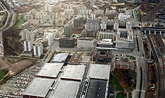 Pasila - Eastern Pasila from the air in October 1989
