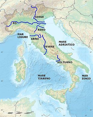 Cartina Italia Idrografica.Lista Di Fiumi D Italia Wikipedia