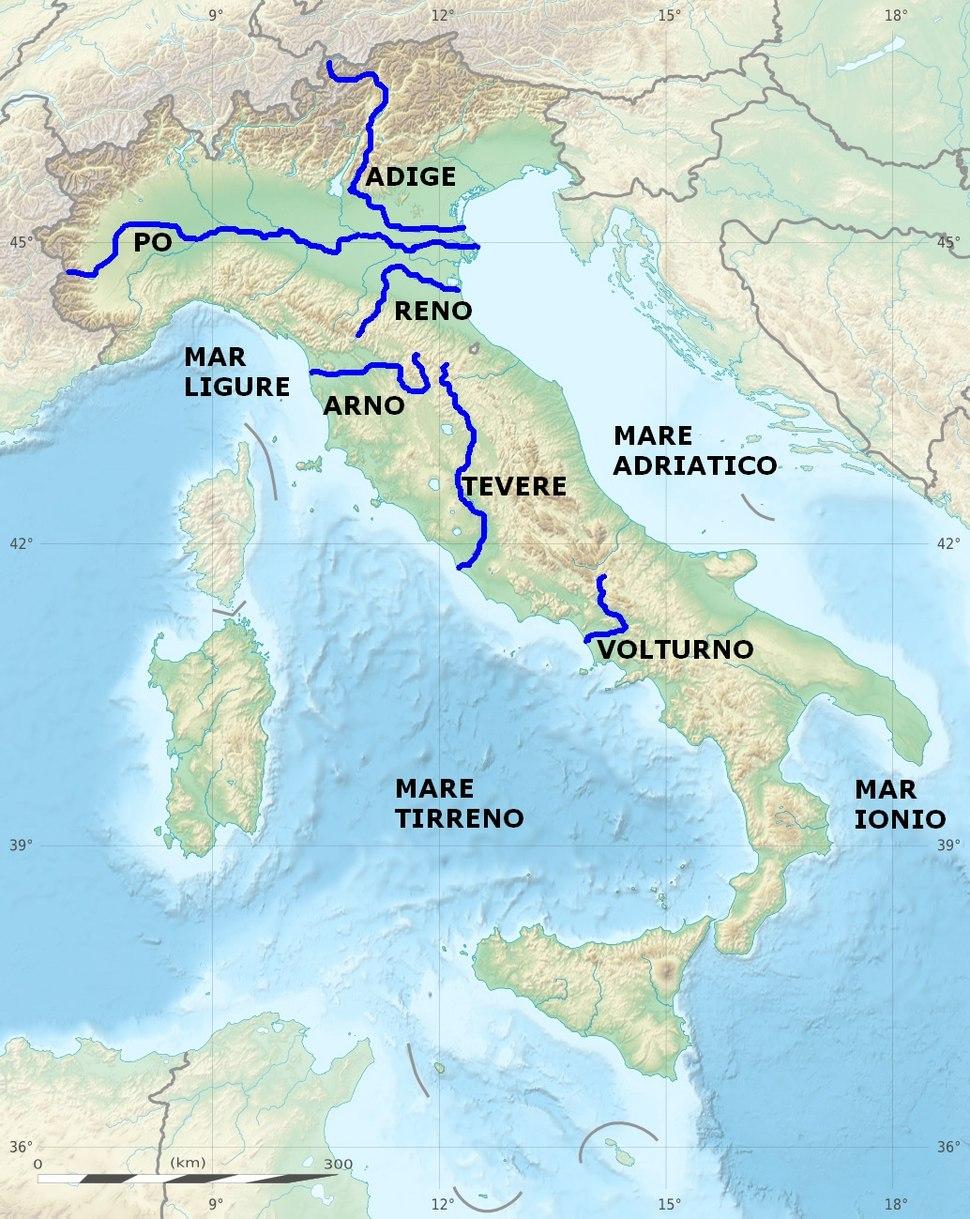 Italy main rivers location