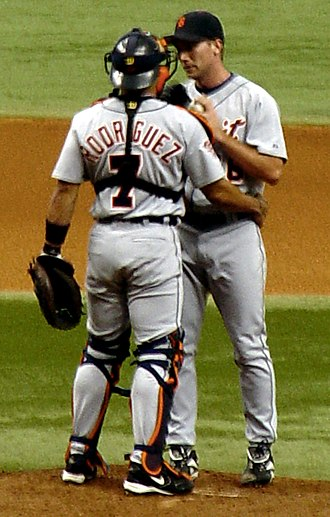 Iván Rodríguez - Rodríguez talking with Mike Maroth while playing for the Detroit Tigers, July 11, 2005.