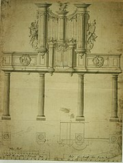 Design for a rood loft and an organ