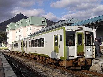Ōminato Line - A KiHa 100 series DMU at Ominato Station on a Shimokita rapid service in October 2009