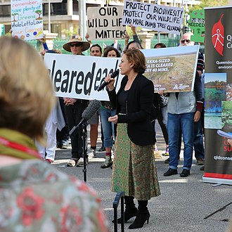 Jackie Trad - Jackie Trad MP at a public rally in support of the Vegetation Management (Reinstatement) Amendment Bill in August 2016.