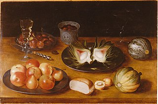 Still life of fruit, with glasswork and a bun, on a wooden ledge, ca. 1600