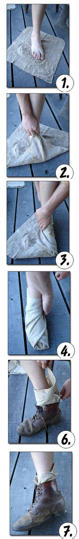 Footwraps - Putting on footwraps