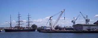 James Craig (barque) - James Craig leaving Forgacs Dockyard in 2007
