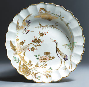 James Giles (porcelain decorator) - Dr. Wall Worcester Dessert Plate in the Japanese Arita style