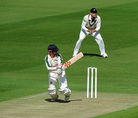 Cricketer, commentator and selector James Taylor, played for the school James Taylor batting at Lord's, 2015.jpg