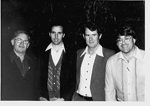 Paul Keating - Keating at age 34, second from left, with other ALP figures (from left) Colin Jamieson, Peter Walsh and David Combe in Wickham, Western Australia, in 1978