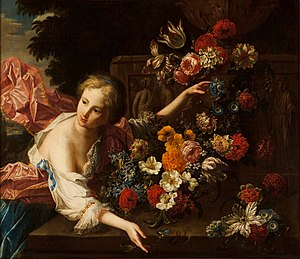 Jan Baptist Bosschaert - Young woman in front of a classical relief surrounded by flowers