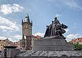 Jan Hus monument and Old Town Hall - Prague, Czech Republic - May 18, 2019.jpg