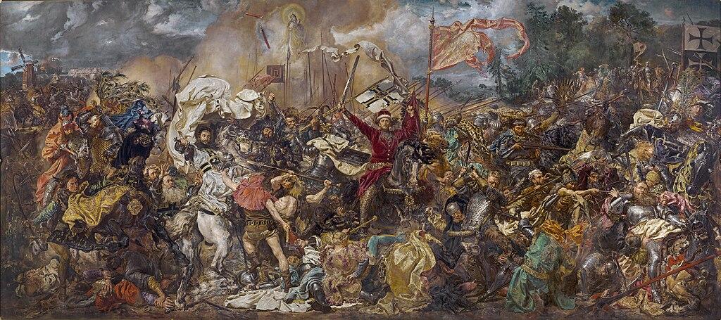 Bataille de Grunwald de Matejko : Événement clé de l'histoire polonaise et enseigné par beaucoup d'emphase à l'école. Au musée National de Varsovie.