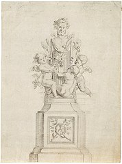 Preliminary sketch of Bacchus with putti