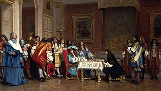 Molière - Louis XIV invites Molière to share his supper—an unfounded Romantic anecdote, illustrated in 1863 painting by Jean-Léon Gérôme
