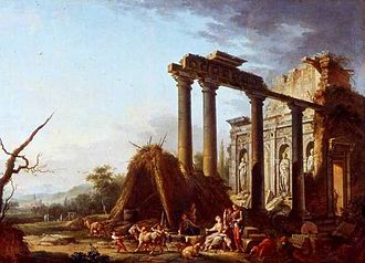 Jean-Baptiste Claudot - The colonnade in ruins, 1764